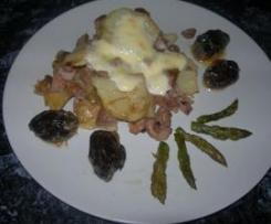 Solomillo de cerdo con patatas al gratén