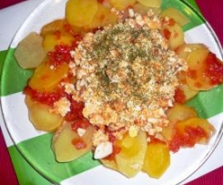 Ensalada 2 tempuras de Patatas con Salmón