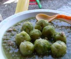 Guisantes y coles con chope de pavo