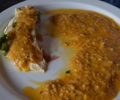 Pescado en salsa de gambas y mejillones