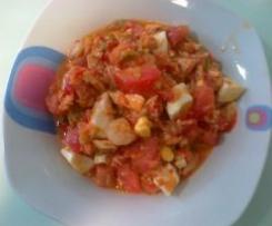 Salpicón de verduras con atún y gambas