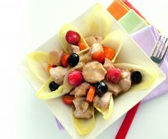 Ensalada de bonito en escabeche de frambuesas