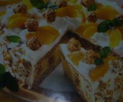 tarta de avellanas con Giotto y melocotones