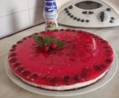Tarta mousse de yogur con frutos rojos