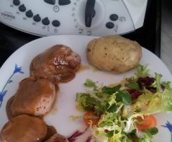 Receta para dos: Solomillo de cerdo con salsa Pedro Ximenez y guarnición