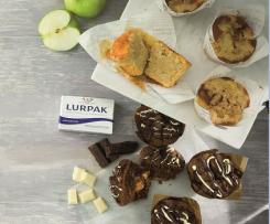Muffins de manzana y canela y muffins de chocolate con Lurpak ®