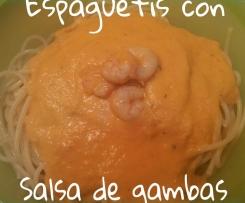 Espaguetis con salsa de gambas
