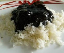 Chipirones en su tinta con arroz (sin gluten y sin lactosa)