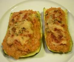 Calabacines rellenos de carne y queso azul