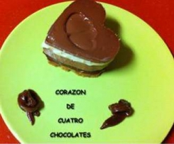 Corazón de cuatro chocolates