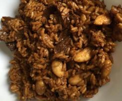 Variaciones Arroz con ternera y almendras - cambiamos ternera por pollo y usamos arroz integral