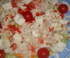 Arroz en ensalada con lubina y salsa ligera de anchoas
