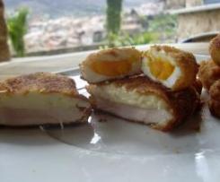 Huevos y pechuga pollo Villaroy