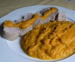 Solomillo de cerdo con pure de zanahorias