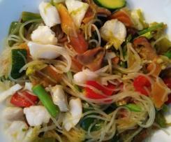 Salteado de verduras con bacalao