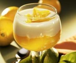 Copa de crema de membrillo con natillas de naranja