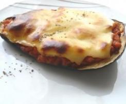 Berenjena con carne, verduras y queso para gratinar (Receta Ligera)