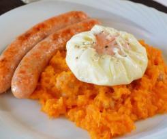 calabaza en ajillo con salchichas y huevos poche
