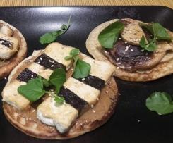 Tortitas de masa madre con Tofu y shiitake