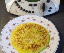 Tortilla francesa con puerros y jamón