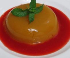 Gelatina de Melocotón con Salsa de Cerezas