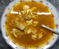 Sopa de arroz con tropezones marineros