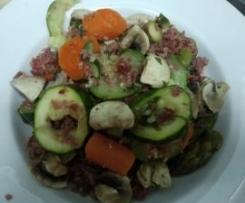Verduras al vapor con jamón