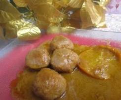 albondigas ibéricas en salsa verduras a la naranja