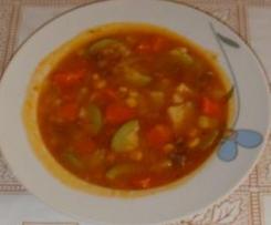 Sopa de verdura con un  toque de sobrasada