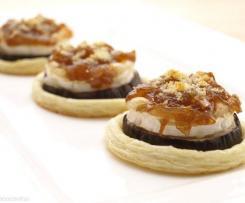 Montaditos de Berenjena y Queso con Cebolla Caramelizada