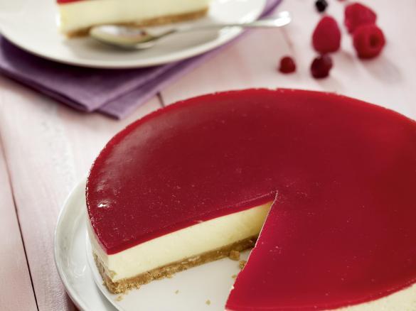 tarta de queso fria con hojas de gelatina