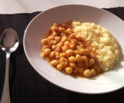 Garbanzos y arroz al curry