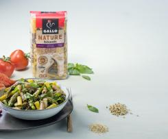 Macarrones multicereales Nature de Gallo ® con verduras y aliño de tomate fresco