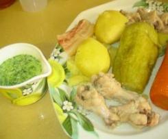 Guiso de jamoncitos de pollo con verduras y gofio