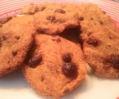 Galletas de avena sin azúcar y sin mantequilla (con stevia) y chips de chocolate