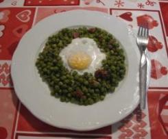 Guisantes con jamón y huevos cuajado al microondas