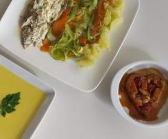 Receta para dos: Lubina, Crema de patata y tatín de frutas.