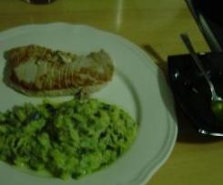 Calabacines con  puerro  y  queso  azul- con  atun plancha