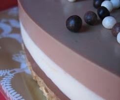 Tarta de 3 chocolates semifria