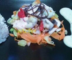 Nidos de verduras con alioli de piñones (vegano)