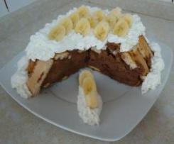 Charlota de chocolate y plátano