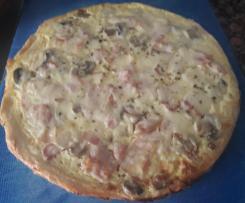Pizza Carbonara Con Masa De Harina y Sémola