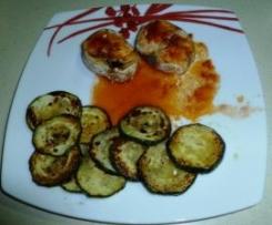 Merluza con vinagreta de tomate y calabacines a la plancha (sin glutem y sin lactosa)