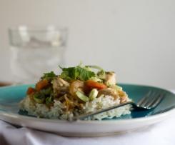 Pollo al jengibre con arroz basmati