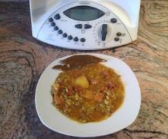 Lentejas con arroz picantes