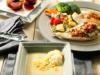 Menú completo para dos, Papillote de pollo con tomate seco, papillote de verduras, papillote de frutas y crema de verduras