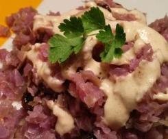 Receta vegana/sin gluten: Col lombarda con salsa de anacardos
