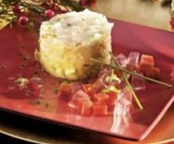Tartar de langostinos con gelatina de lima y tomate