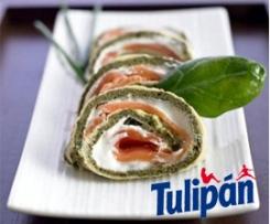 Rollo de espinacas con queso y salmón