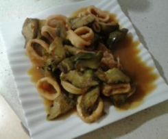 Calamares con alcachofas